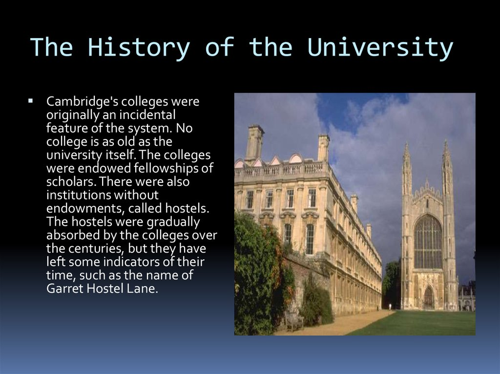 The History of the University