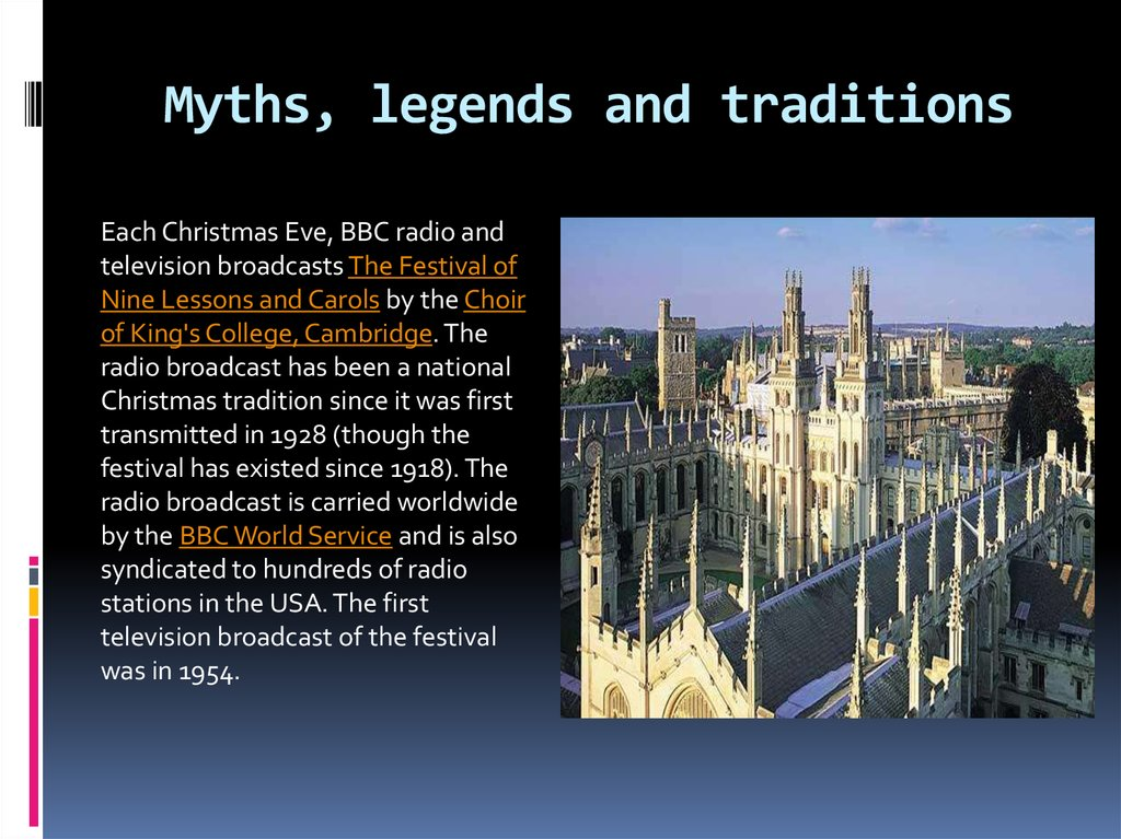 Myths, legends and traditions