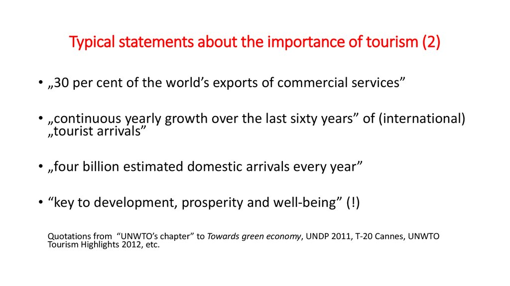 Typical statements about the importance of tourism (2)