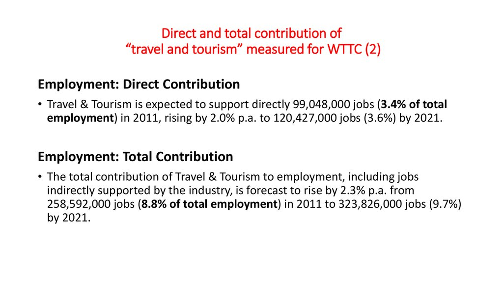 "Direct and total contribution of ""travel and tourism"" measured for WTTC (2)"