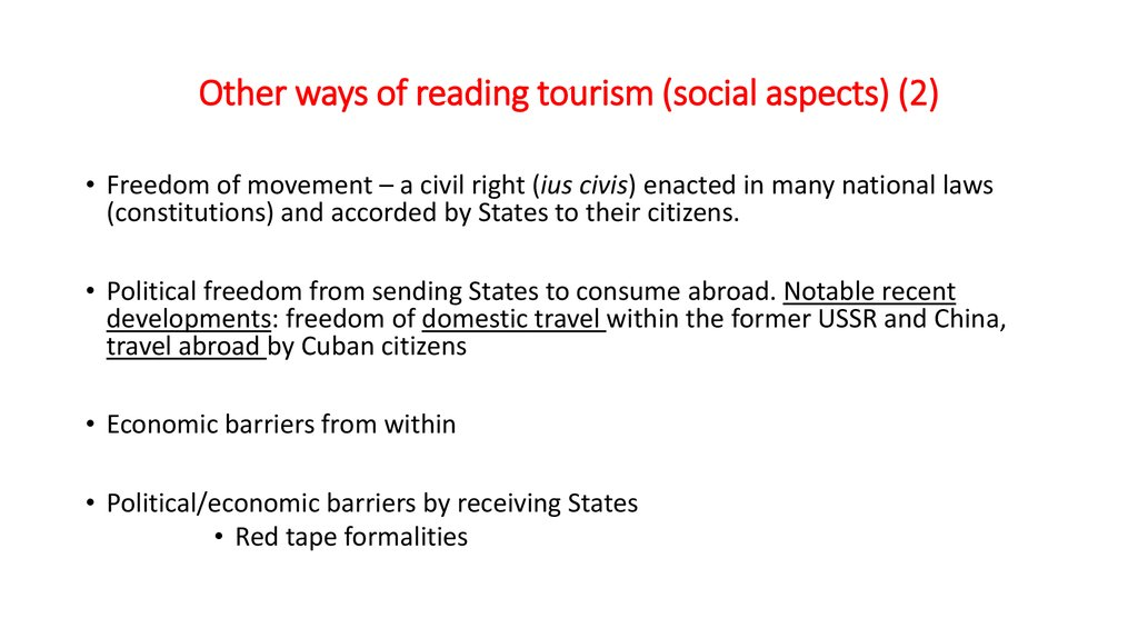 Other ways of reading tourism (social aspects) (2)