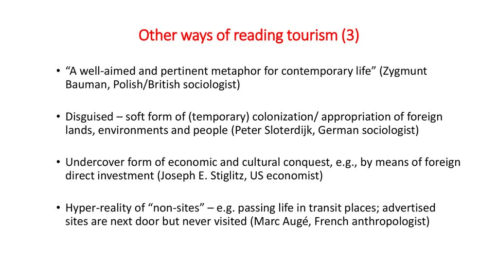 Other ways of reading tourism (3)