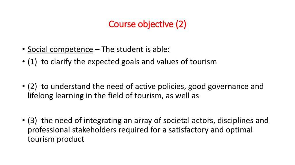 Course objective (2)