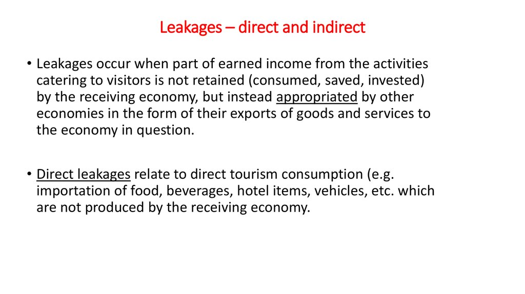 Leakages – direct and indirect