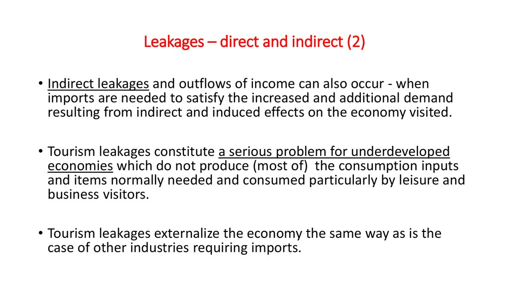Leakages – direct and indirect (2)