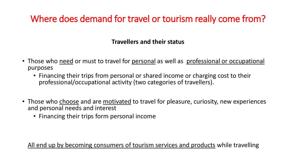 Where does demand for travel or tourism really come from?