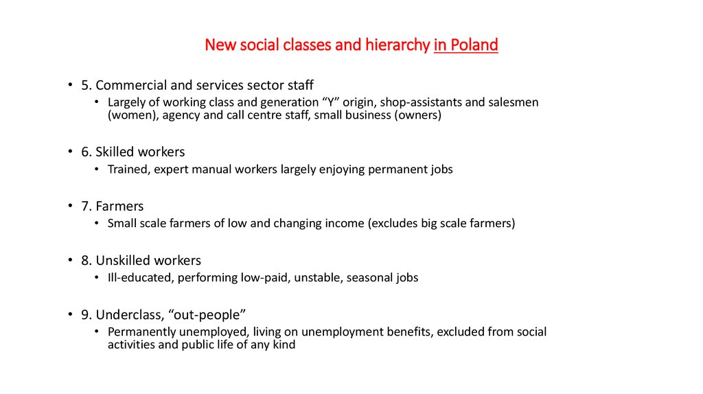 New social classes and hierarchy in Poland