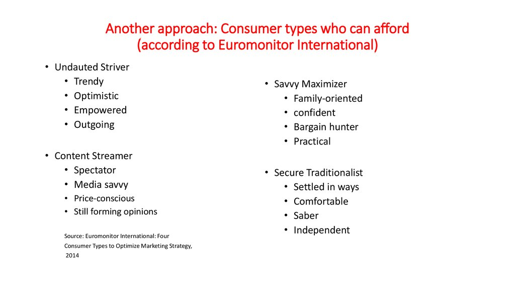 Another approach: Consumer types who can afford (according to Euromonitor International)