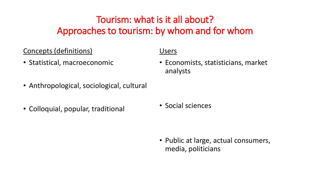 Tourism: what is it all about? Approaches to tourism: by whom and for whom
