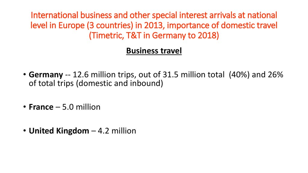 International business and other special interest arrivals at national level in Europe (3 countries) in 2013, importance of