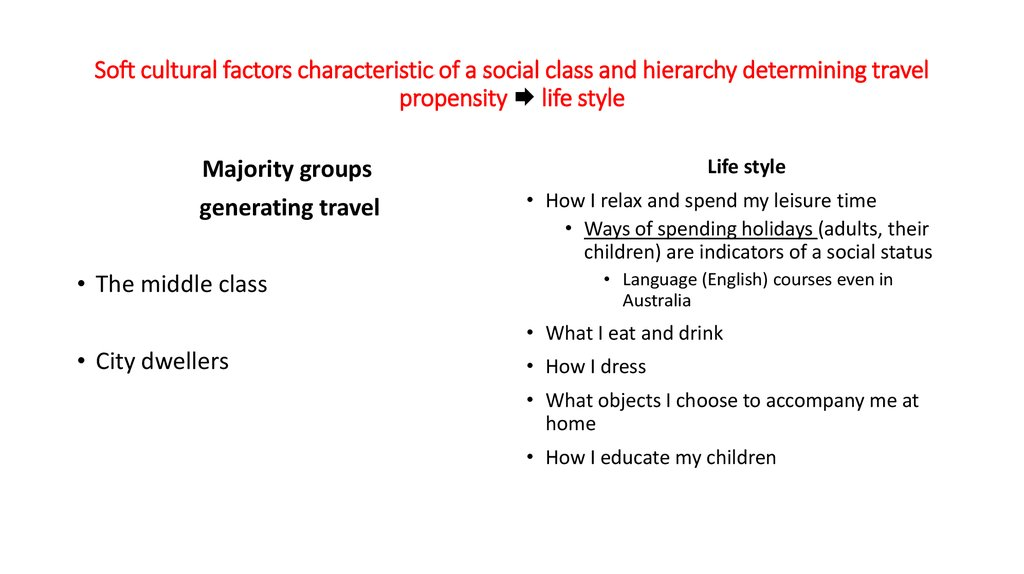 Soft cultural factors characteristic of a social class and hierarchy determining travel propensity  life style