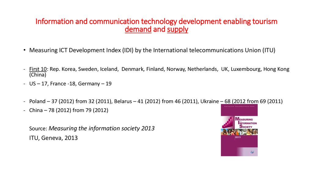 Information and communication technology development enabling tourism demand and supply