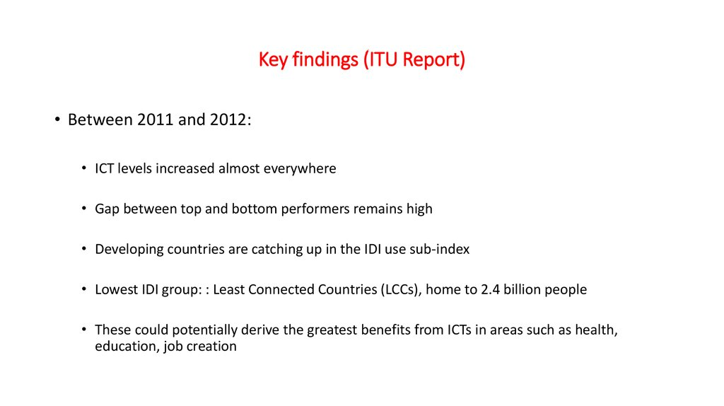 Key findings (ITU Report)