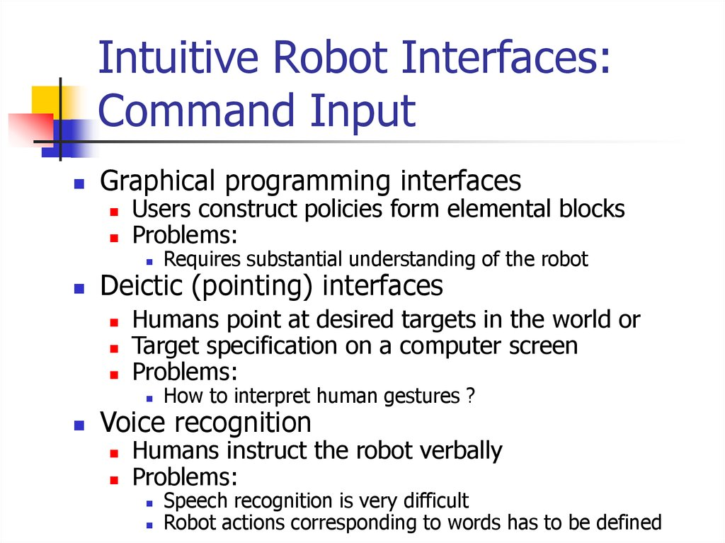 Intuitive Robot Interfaces: Command Input