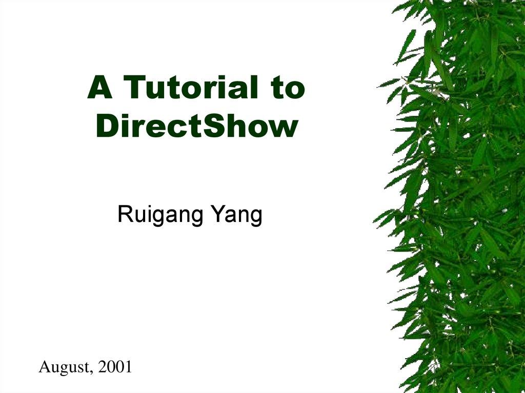 A Tutorial to DirectShow - online presentation