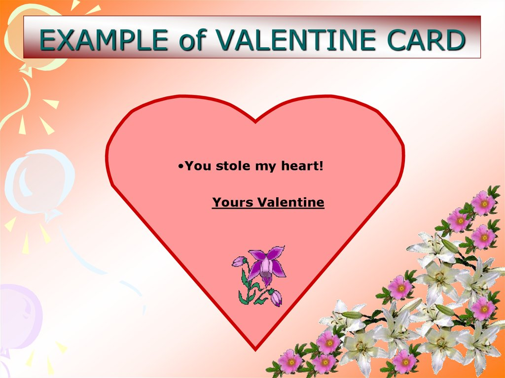 EXAMPLE of VALENTINE CARD
