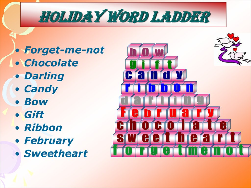 Holiday word ladder