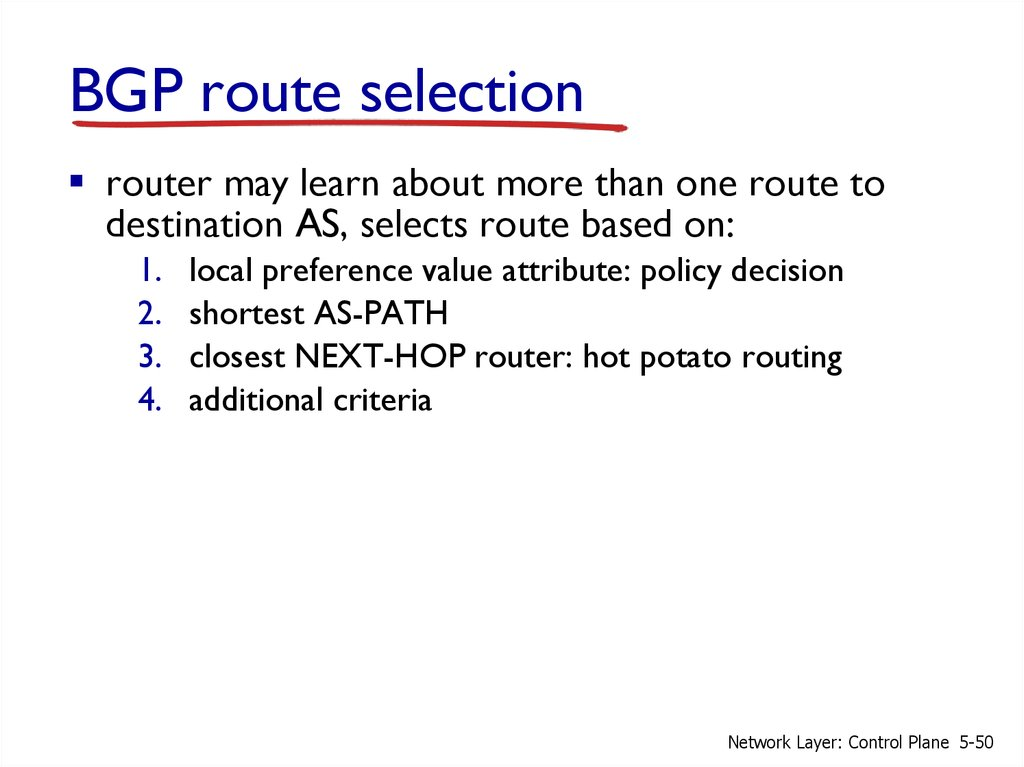 Network Layer: The Control Plane - online presentation