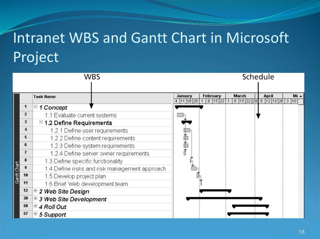 Intranet WBS and Gantt Chart in Microsoft Project