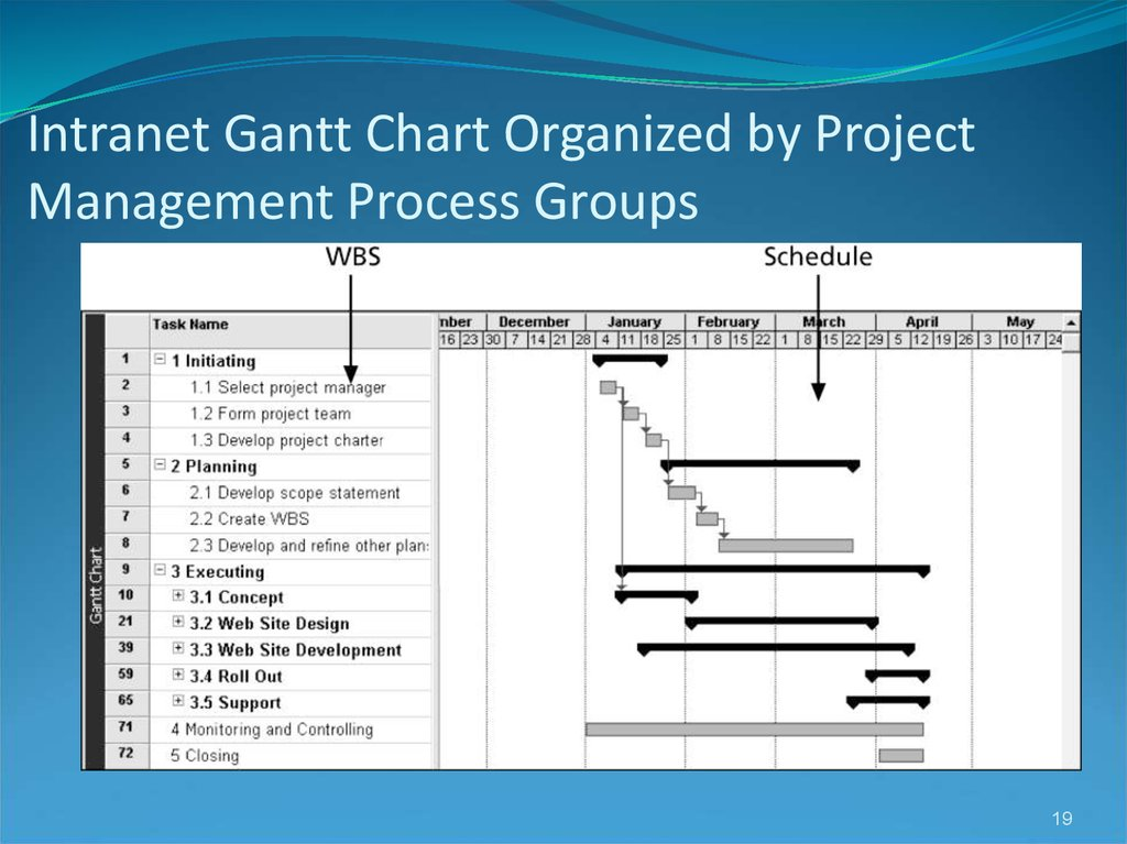 Intranet Gantt Chart Organized by Project Management Process Groups