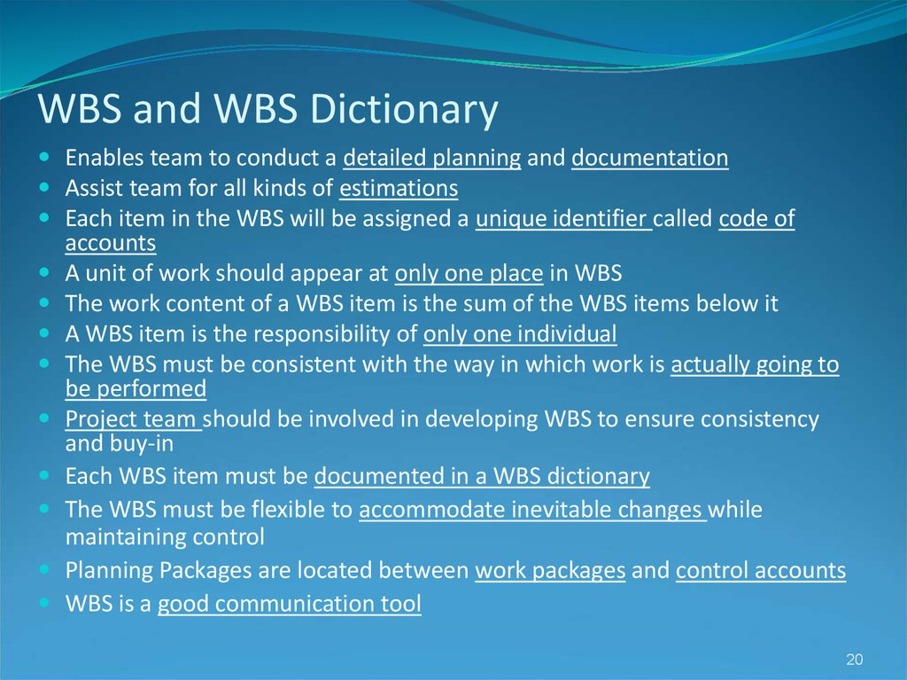 WBS and WBS Dictionary