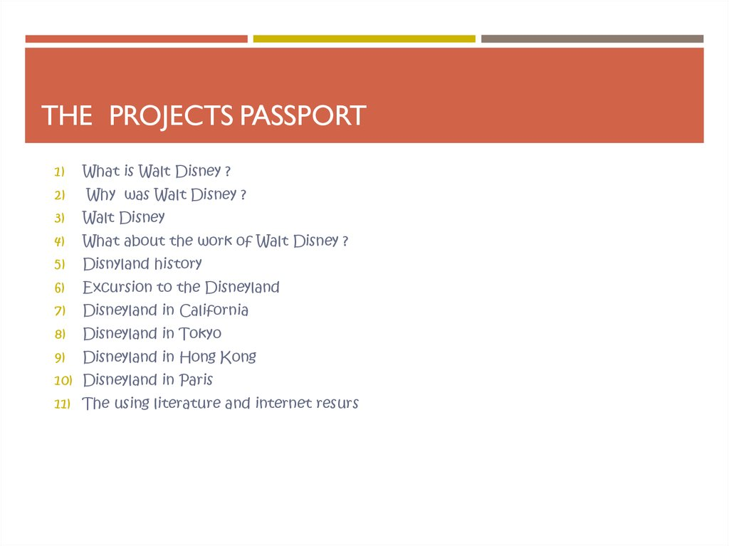 The projects passport