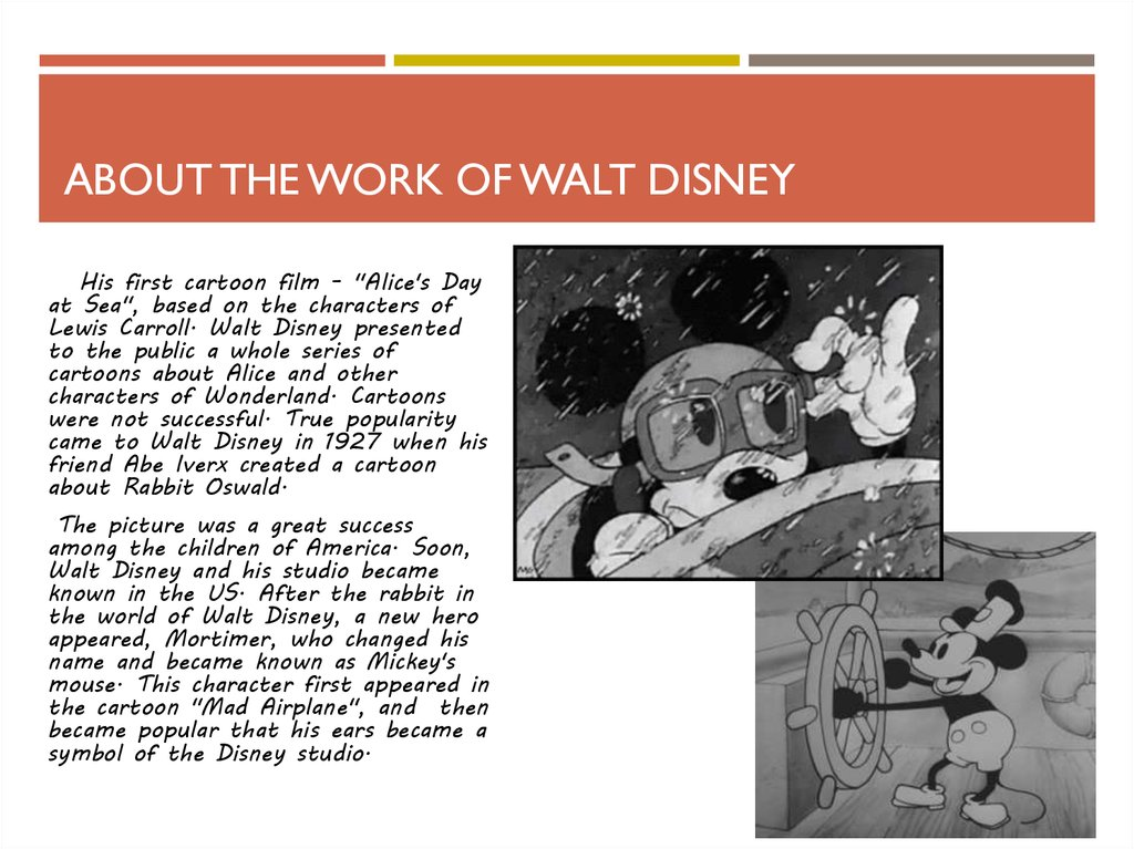 about the work of Walt Disney