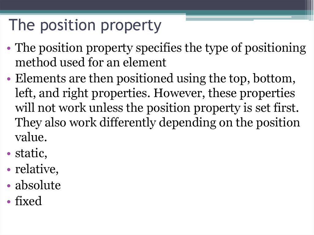 The position property