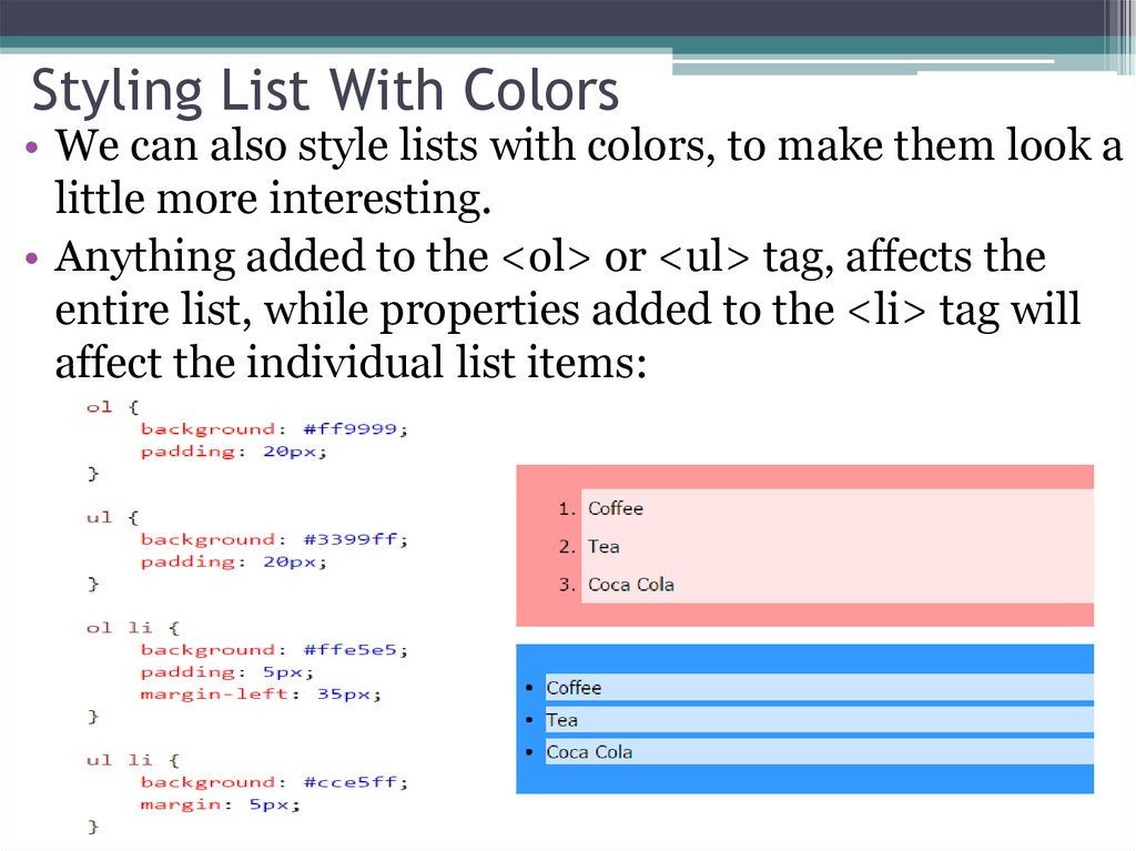Styling List With Colors