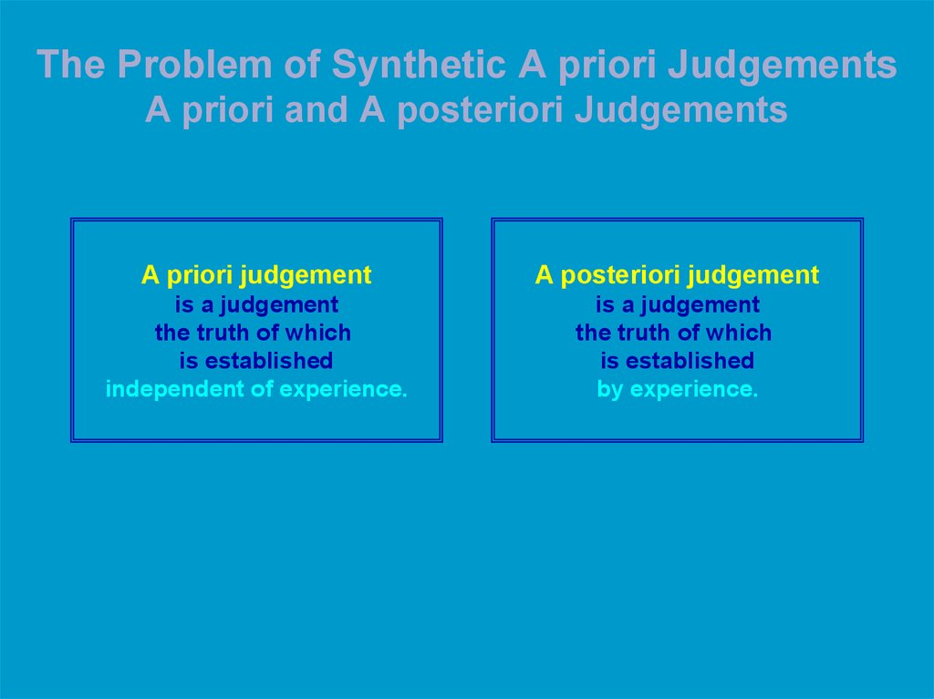 The Problem of Synthetic A priori Judgements A priori and A posteriori Judgements