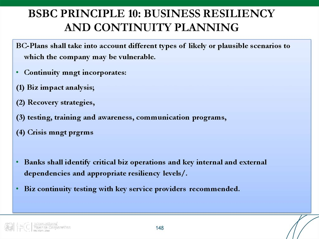 BSBC PRINCIPLE 10: BUSINESS RESILIENCY AND CONTINUITY PLANNING