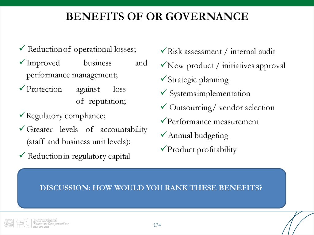 BENEFITS OF OR GOVERNANCE