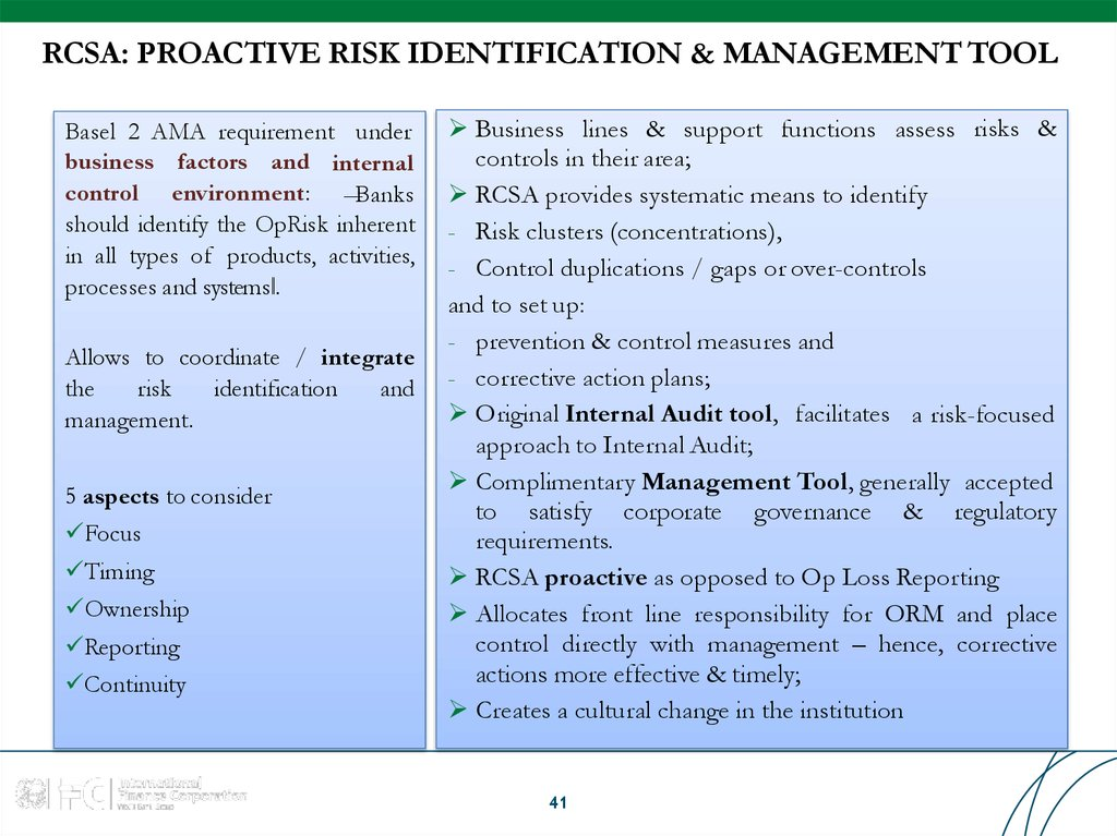 RCSA: PROACTIVE RISK IDENTIFICATION & MANAGEMENT TOOL