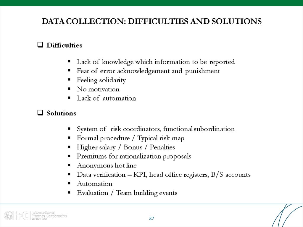 DATA COLLECTION: DIFFICULTIES AND SOLUTIONS