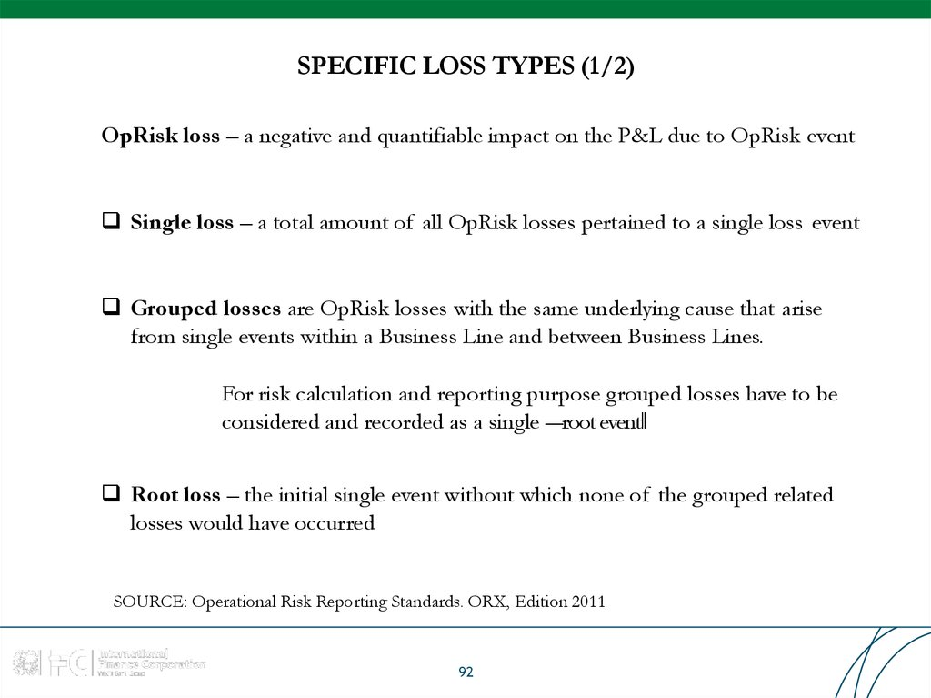 SPECIFIC LOSS TYPES (1/2)