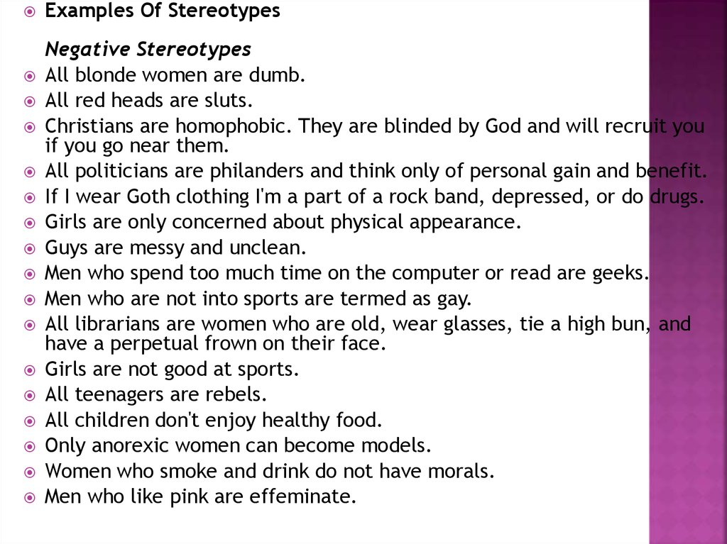 Stereotypes Examples Of Stereotypes Online Presentation