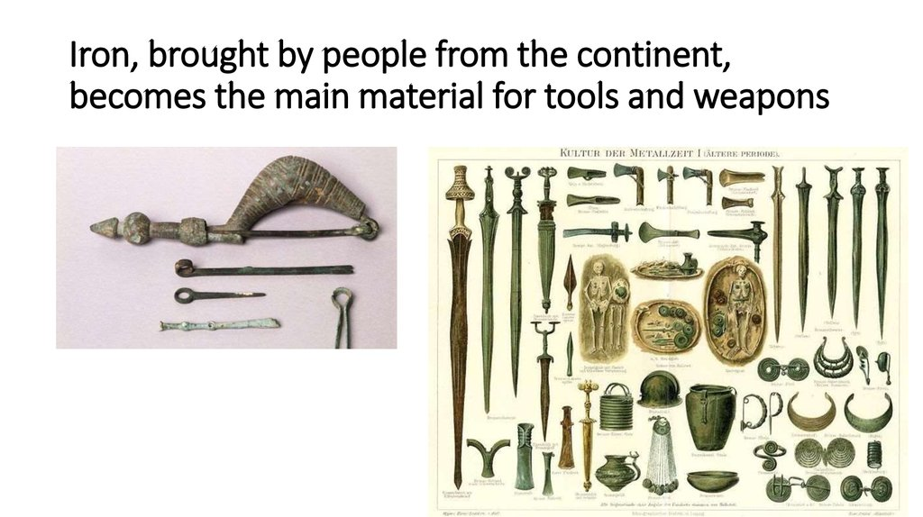 Iron, brought by people from the continent, becomes the main material for tools and weapons