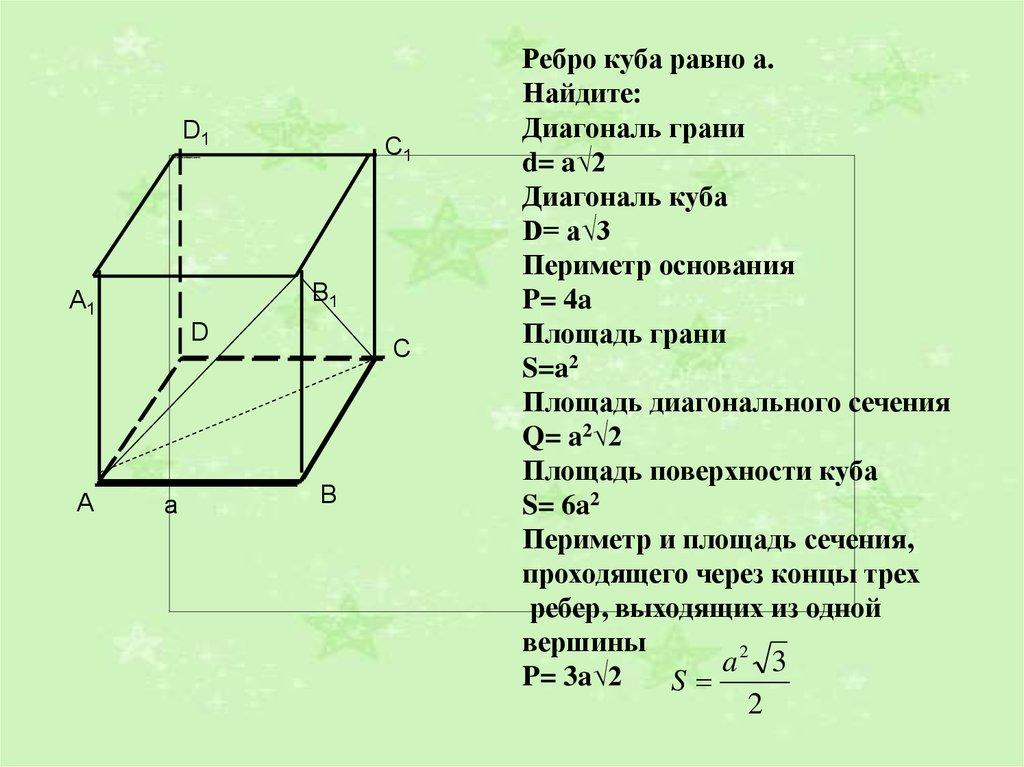 Формула нахождения диаганалей призмы