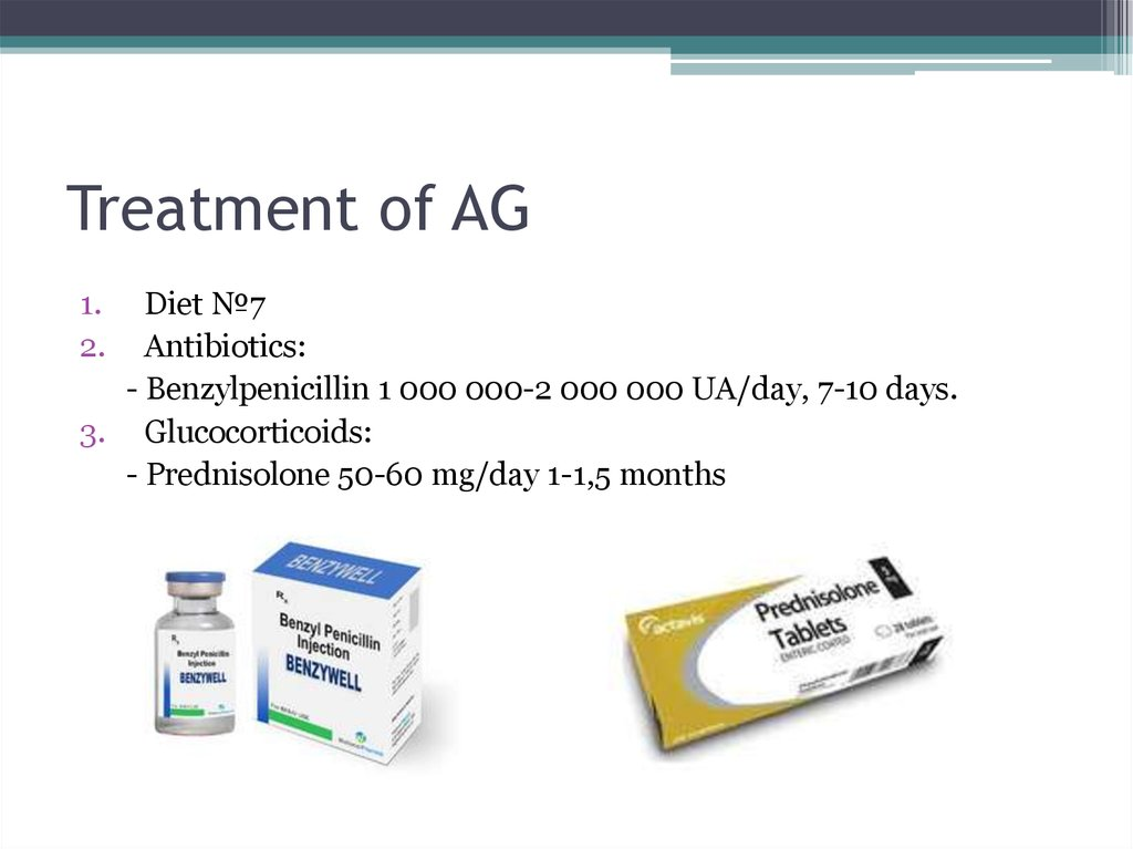 Treatment of AG
