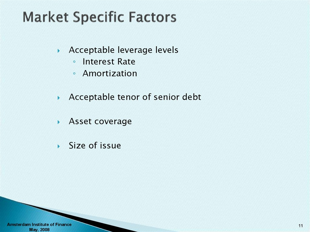 Market Specific Factors