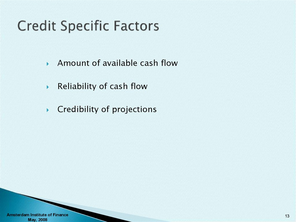 Credit Specific Factors
