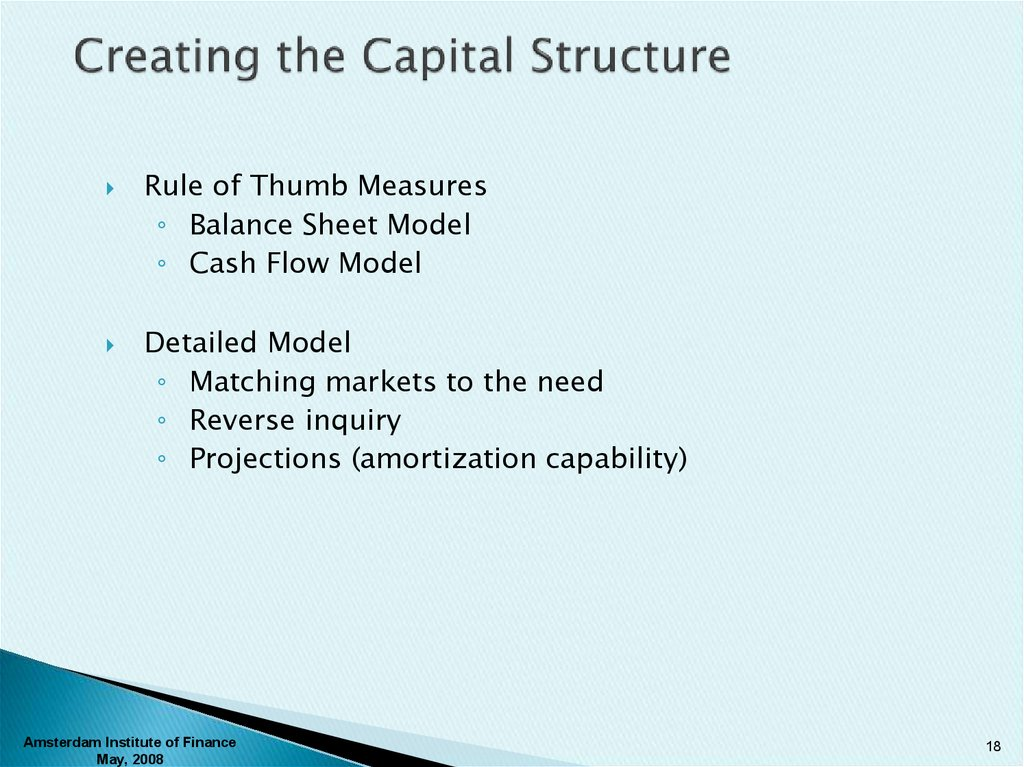 Creating the Capital Structure