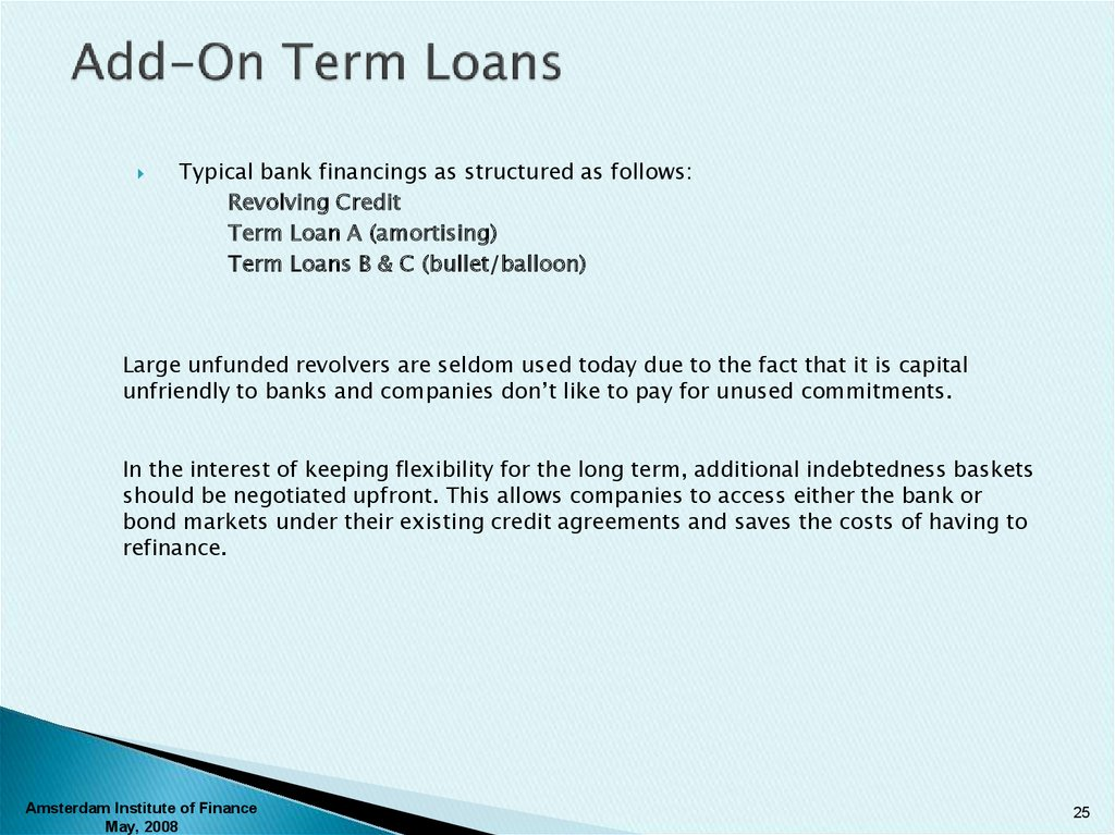 Add-On Term Loans