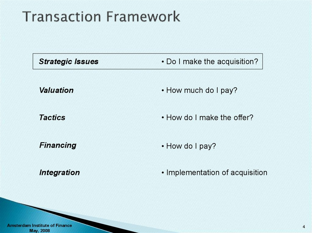 Transaction Framework