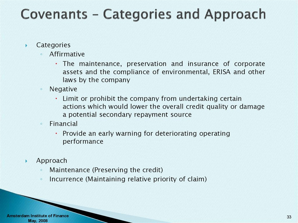 Covenants – Categories and Approach