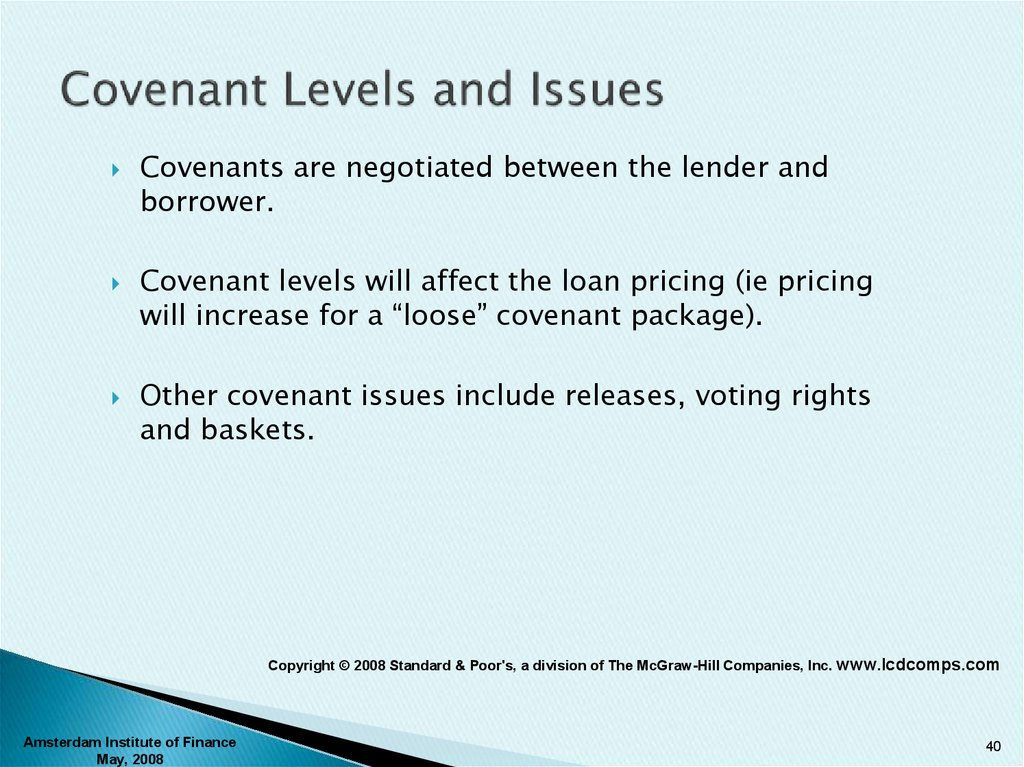 Covenant Levels and Issues