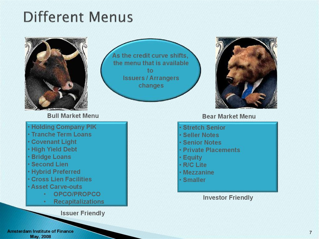 Different Menus
