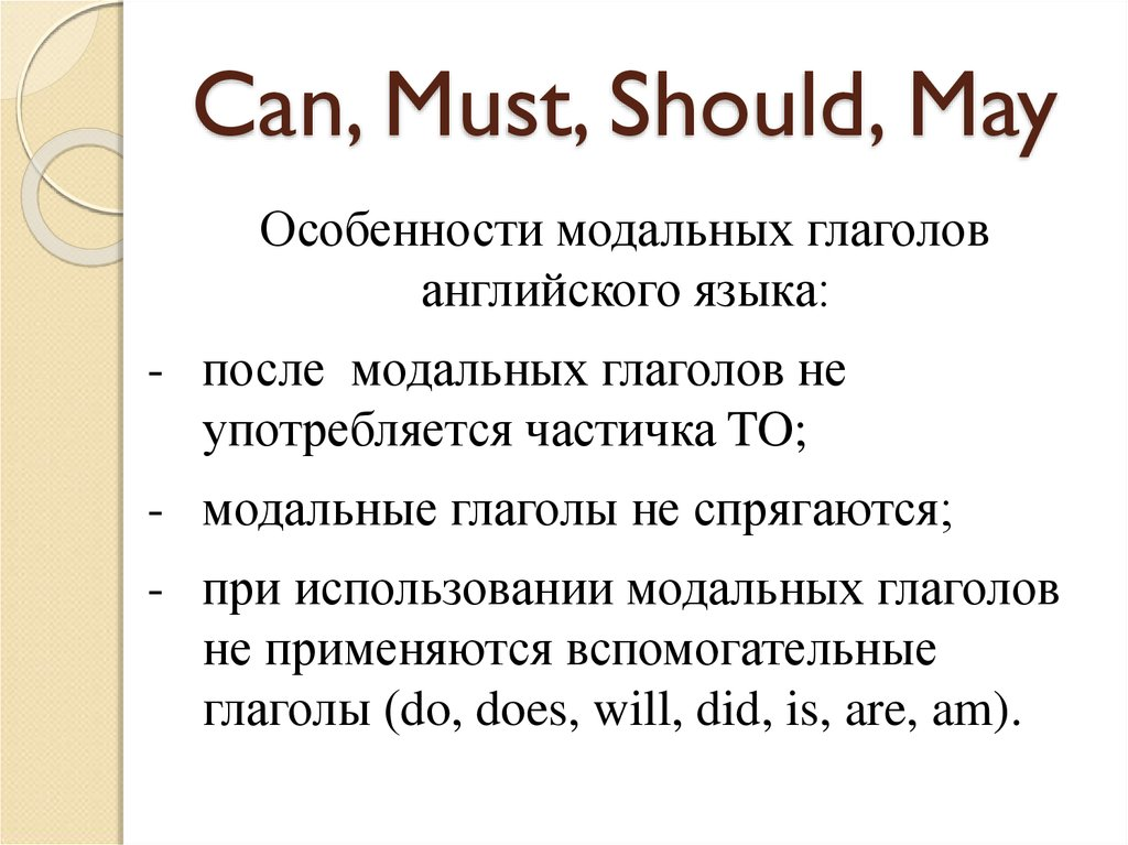 Can, Must, Should, May