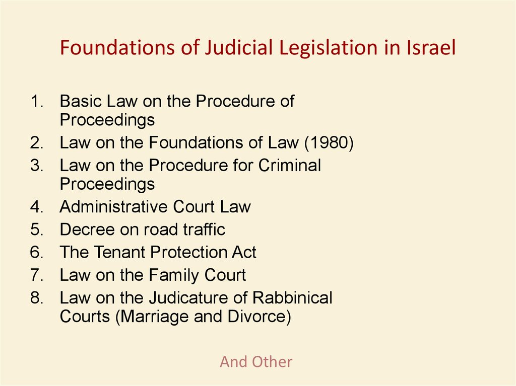 Foundations of Judicial Legislation in Israel