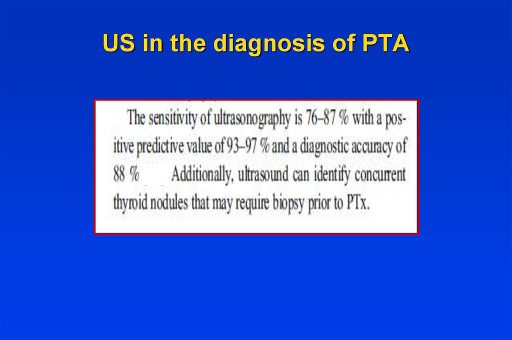 US in the diagnosis of PTA